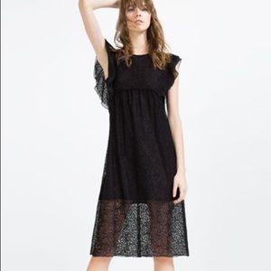 ZARA Black Lace Empire Waist Midi Dress, M